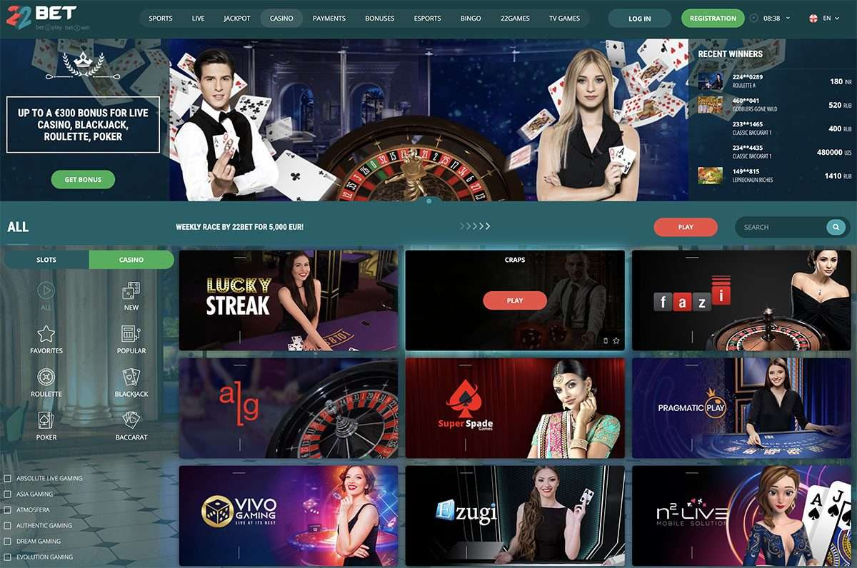 22bet casino v živo